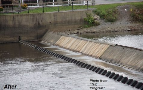 Teacher and student involved in repairs to R Dudley Tonkin Memorial Timber Dam