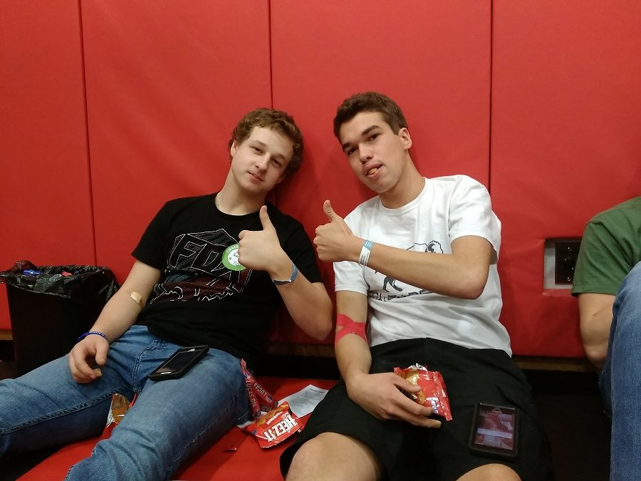 Sam Pennington and Luke Witherite after donating blood