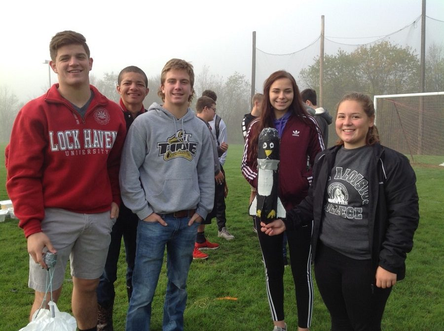 Team Flying Penguins set the new flight record in the Physics Water-Air Rocket Challenge. Team members are, from left:  Luke Mcgonigal, Jude Pallo, Lexi Shomo, and Sarah Snyder.
