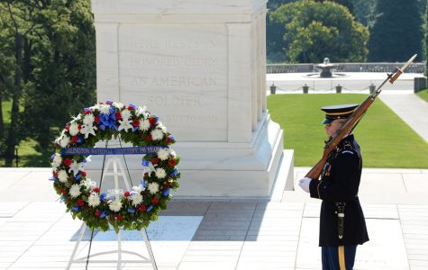 The Arlington National Cemetery observes its 150 anniversary with a wreath laying ceremony at the Memorial Amphitheater, Tomb of the Unknown Soldier in Arlington, Va., June 16, 2014. (U.S. Army photio by Alfredo Barraza)