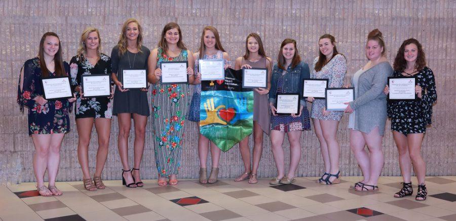 From left; Lauren Butler, Brooke Cline, Nikki Brossard, Kate Lansberry, Aspen Bishop, Sierra Knepp, Talitha Narehood, Shaylee Wagoner, Brittni Walker, and Jaclyn Freeman