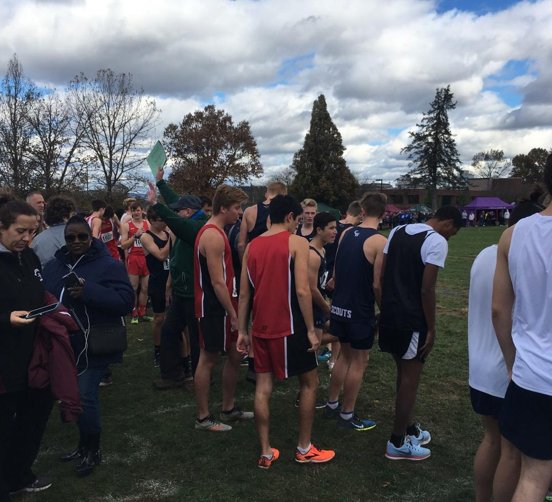 Isaac Swanson and Jeremiah Vezza wait at the starting line for the big race.