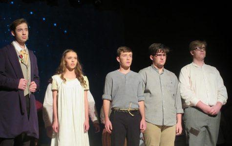 Mason Yocum, Taylor Trinidad, Remington Shugarts, Cruz Wright, and Ben Leighow during the opening prologue.