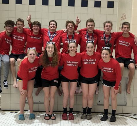 Clearfield swimmers celebrate dominant District IX run