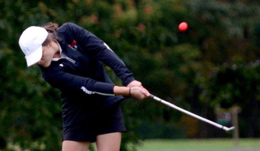 Christina McGinnis represents Lady Bison golf at Western Regionals