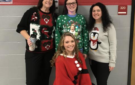 Mrs. Warlow, McLain Alt, Mrs. Borden, and Alyssa Carlin in their holiday gear.