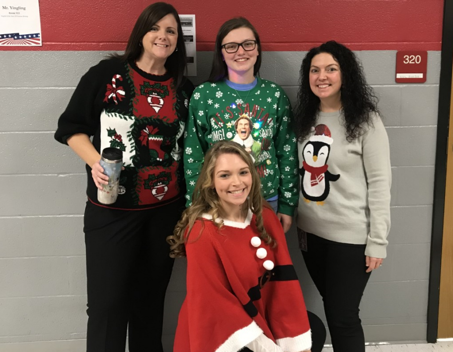 Mrs.+Warlow%2C+McLain+Alt%2C+Mrs.+Borden%2C+and+Alyssa+Carlin+in+their+holiday+gear.+