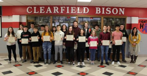 January 2020 Students of the Month shown with Mrs. Prestash, principal.