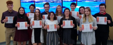 From left to right: Graeson Graves. Emily Hanes, Alycia Edwards, Sydney Salvatore, Cruz Wright,  Alexia Mick, Karli Bietz, Christina McGinnis, Ethan Yarger, Megan Durandetta, Morgan Cheek, and Landon Libreatori
