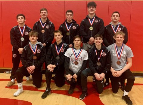 Clearfield Varsity wrestlers that placed at districts. Front Row: Luke Freeland, Nolan Barr, Derrick Bender, Evan Davis, Karson Kline. Back Row: Mark McGonigal, Matt Bailor, Haden Kavolick, Oliver Billotte, Brett Zattoni.