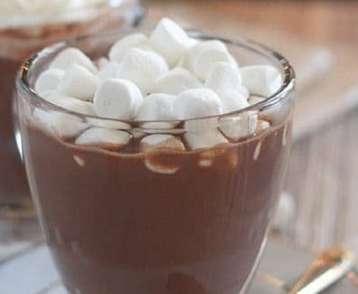 Hot Chocolate with marshmallows on top.
