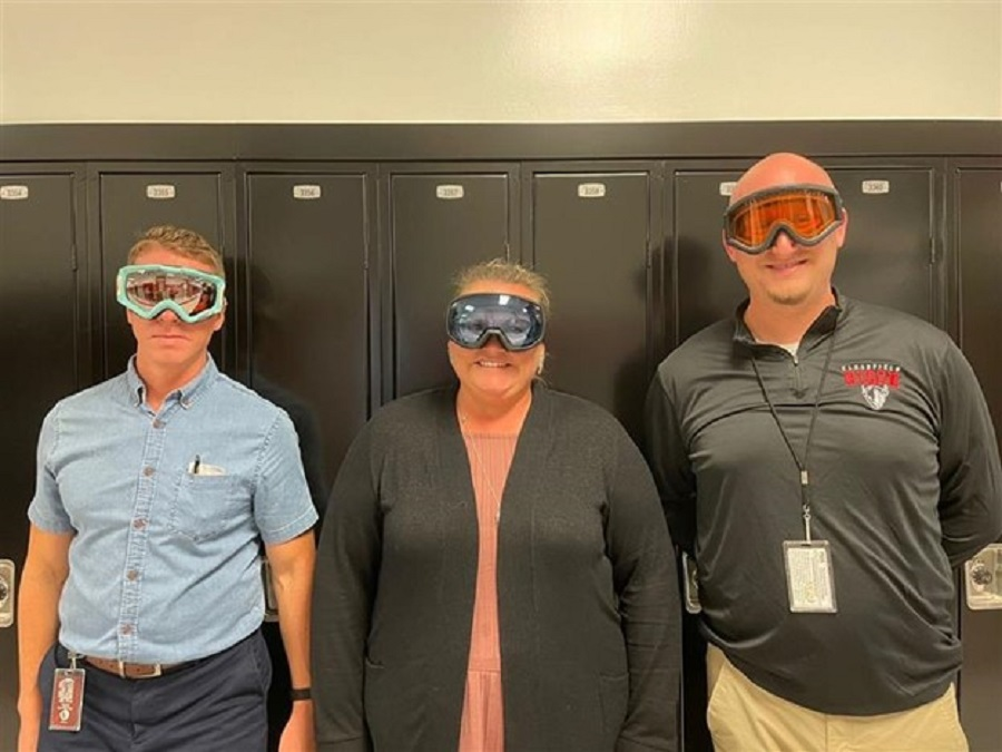 Here are the new co-advisors for the ski club, from right to left: Mr. Taylor, Mrs. McGranor, and Mr. Bowman.