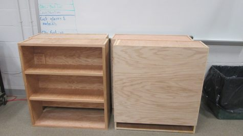 A set of shelves made by Mr. Pistner and his students.