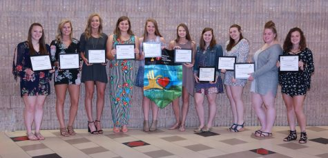 From left; Lauren Butler, Brooke Cline, Nikki Brossard, Kate Lansberry, Aspen Bishop, Sierra Knepp, Talitha Narehood, Shaylee Wagoner, Brittni Walker, and Jaclyn Freeman