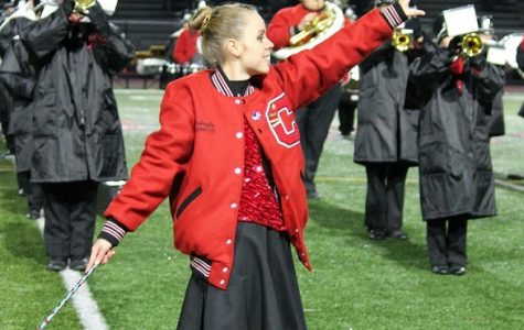 Makayla Lutz enjoys her final year as captain of the Bison band front