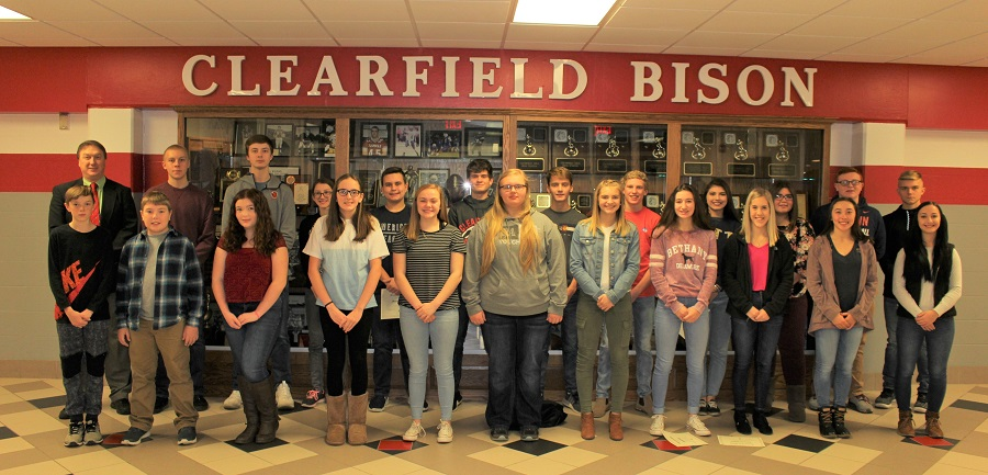 November students of the month appear with Mr. Janocko.