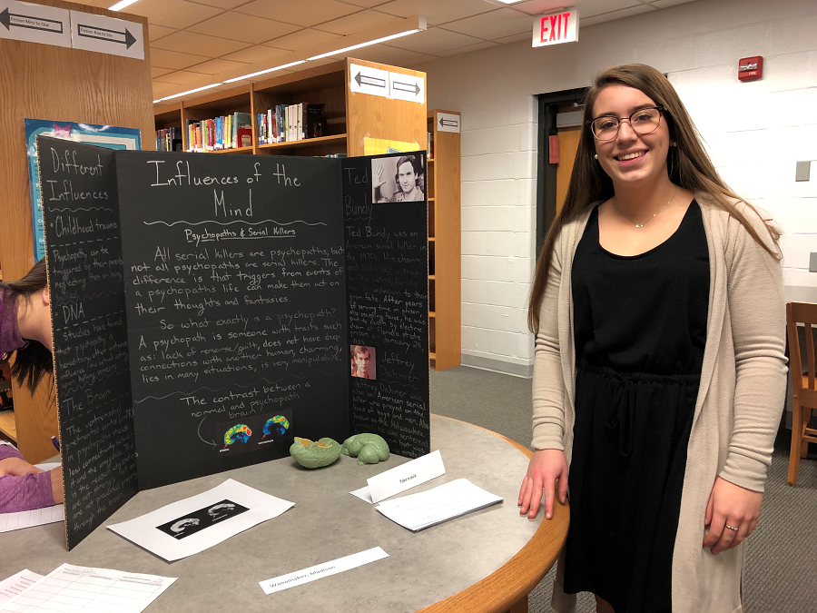 Madison Wanamaker with her project on Influences of the Mind.