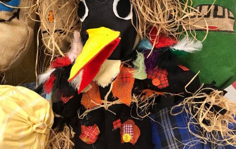 The CAJHS art classes design scarecrows