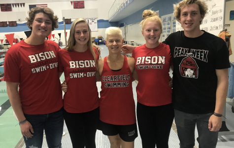 Listing from left to right: Parker Marshall, Karli Bietz, Coach Morrison, Raegan Mikesell and Luke Mikesell.