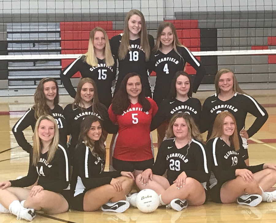 The Clearfield Lady Bison Volleyball team includes starting from left first row: Lauren Coleman, Bella Spingola, Anna Hale, and Adrian Rowles. Second Row: Rachele Owens, Cassie Eamigh, Lauren Ressler, Alaina Fedder, and Olivia Bender. Third Row: Morgan Cheek, Paige Rhine, and Alyssa Rowles.
