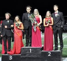Pictured are: Homecoming queen Kimberly Wilsoncroft with escort Cruz Wright, center; first runner-up Avry Grumblat with escort Harrison Peacock at right, and second runner-up Bella Spingola with escort Parker Williams at left.