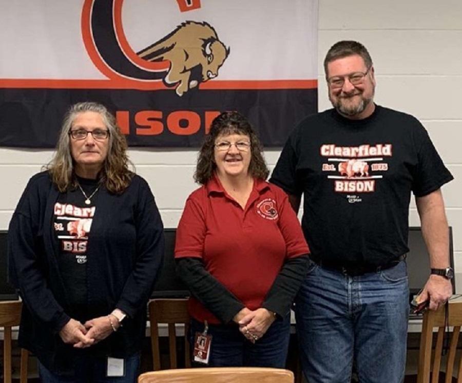 The librarians at Clearfield Area Junior-Senior High School show their bison spirit.