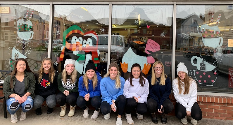 Ethan's Window Painting done by, from left to right, Madison Wanamaker, Kylee Hertlein, Lauren Coleman, Hayley Moore, Avry Grumblatt, Bella Spingola, Madison Davis and Courtney Buck.