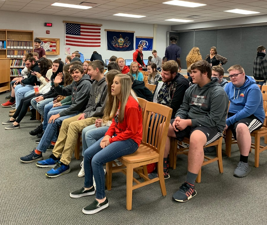 Students wait for their turn to vote in the mock election.