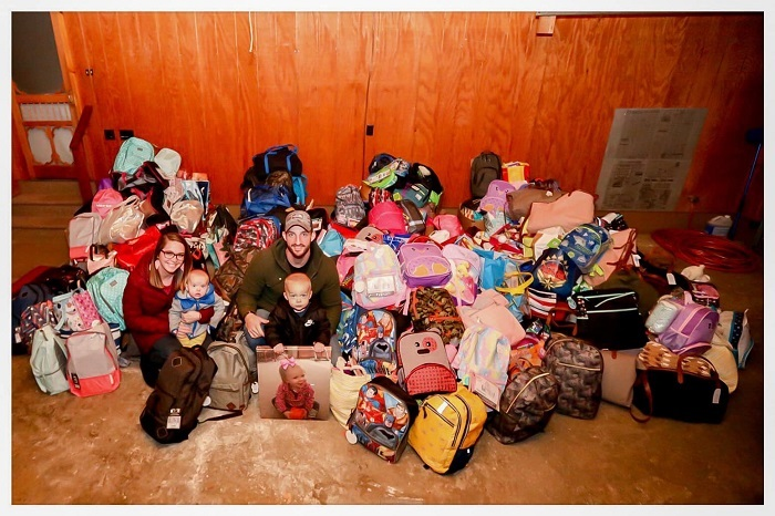 A+photo+of+the+family+of+Kinsley+with+the+foster+care+bags+everyone+put+together.+