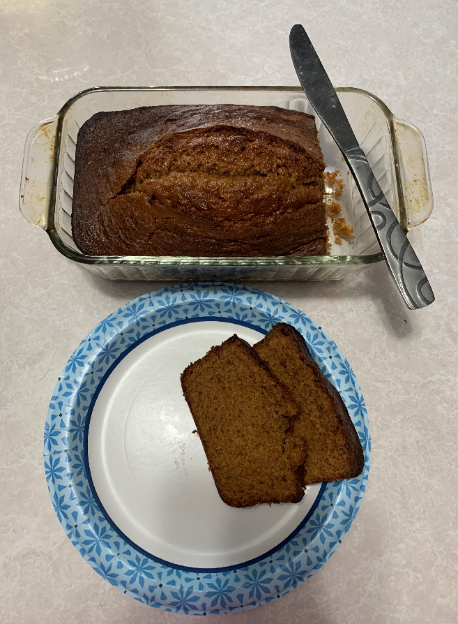 The finished pumpkin spice bread.