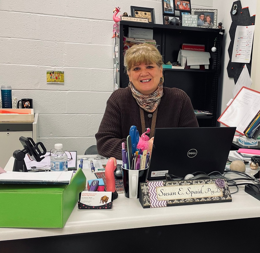 Dr. Spaid at her desk