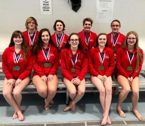 Front: Charlise McSkimming, Josie Narehood, Beth Struble, Emma Quick, and Danielle Cline. Back: Hunter Cline, Nick Vaow, Leif Hoffman, and Mason Marshall.