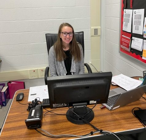 Ms. Little at her desk.