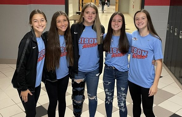 Some girls from the soccer team participate in red, white, and blue day. From left to right are Elle Smith, Abby Ryan, Cayleigh Walker, Taylor Hudson, and Alayna Winters.